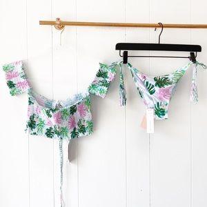 NWT Pilyq Flamingo Smocked Bikini Set